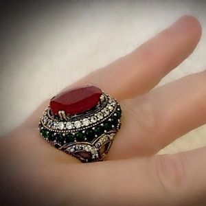 RUBY EMERALD ART RING Sz 10 Solid 925 Silver/Gold